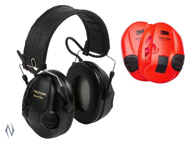 PELTOR SPORTAC BLACK & RED ELECTRONIC EAR MUFFS 24DB Image