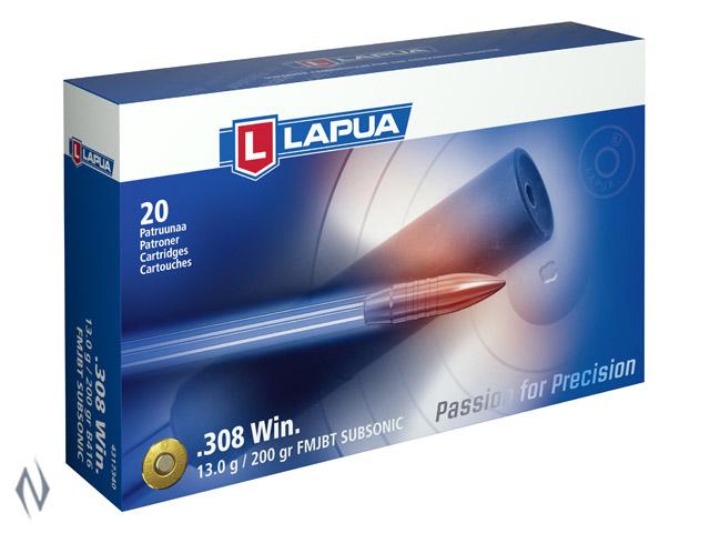 LAPUA AMMO 308 WIN 200GR FMJBT SUBSONIC 1066FPS Image