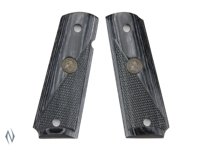 PACHMAYR RENEGADE LAMINATED GRIPS 1911 HALF CHECKERED CHARCOAL Image