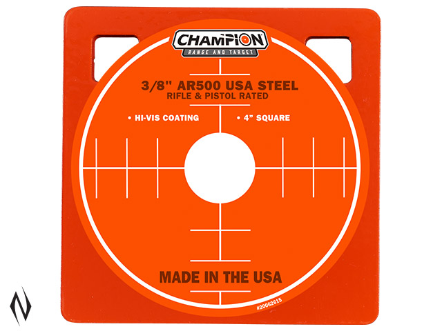 "CHAMPION AR500 CENTREFIRE RIFLE STEEL TARGET 3/8"" SQUARE 4"" Image"