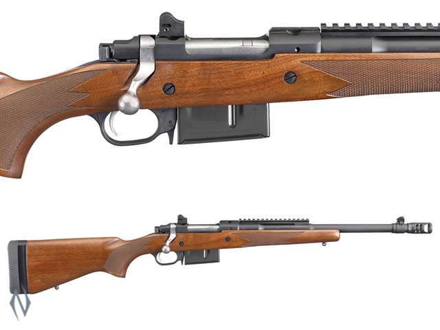 "RUGER 77 GUNSITE SCOUT BLUE WALNUT 450 BUSHMASTER 16.5"" BRAKE Image"