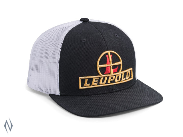 LEUPOLD #511 RETICLE FLAT BILL TRUCKER CAP BLACK / WHITE OS XXXX Image