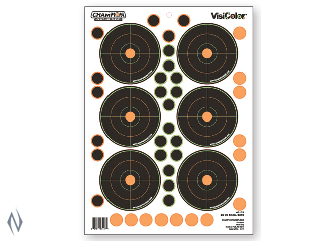 CHAMPION TARGET VISICOLOR ADHESIVE SMALL BORE 25YD 5 PACK + PATCHES Image