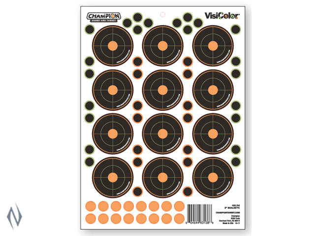 "CHAMPION TARGET VISICOLOR ADHESIVE BULLSEYE 2"" 5 PACK + PATCHES Image"