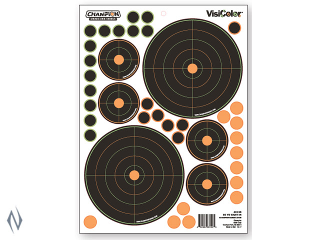 CHAMPION TARGET VISICOLOR ADHESIVE BULLSEYE SIGHT IN 50YD + PATCHES Image