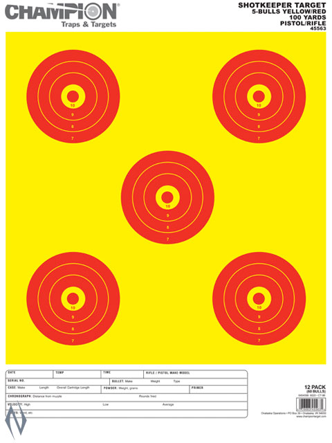 CHAMPION TARGET SHOTKEEPER 5 BULL BR LARGE 12 PACK Image