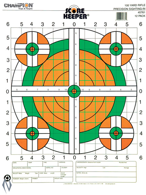 CHAMPION TARGET 100YD SIGHT IN RIFLE FLURO 12 PACK Image