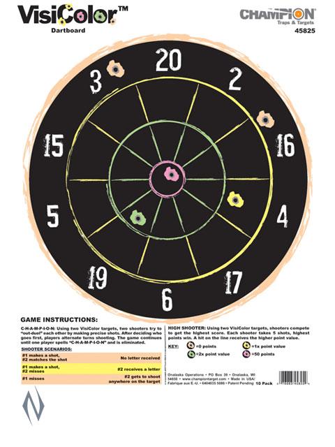 CHAMPION TARGET VISICOLOR DARTBOARD 10 PACK Image