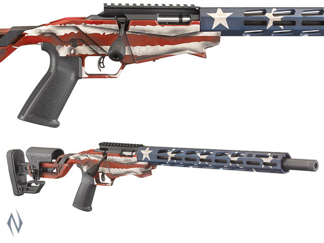"RUGER PRECISION RIMFIRE RIFLE 22LR 18"" 10 SHOT USA FLAG Image"