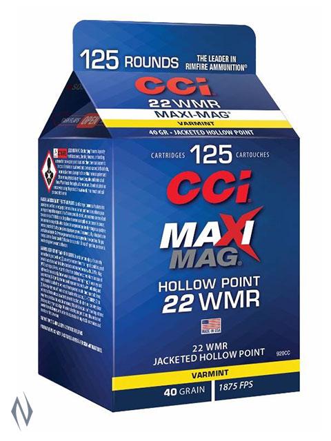 CCI 22WMR MAXI MAG 40GR HP 125 RND POUR PACK 1875FPS Image