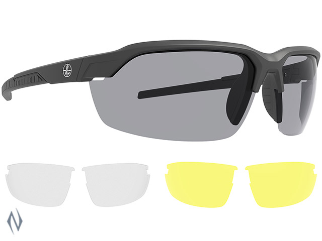 LEUPOLD SUNGLASSES TRACER MATTE BLACK SHADOW GREY INC YELLOW & CLEAR LENSES Image