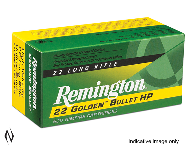 REMINGTON 22LR 36GR HV HP GOLDEN BULLET 100 PK 1280FPS Image