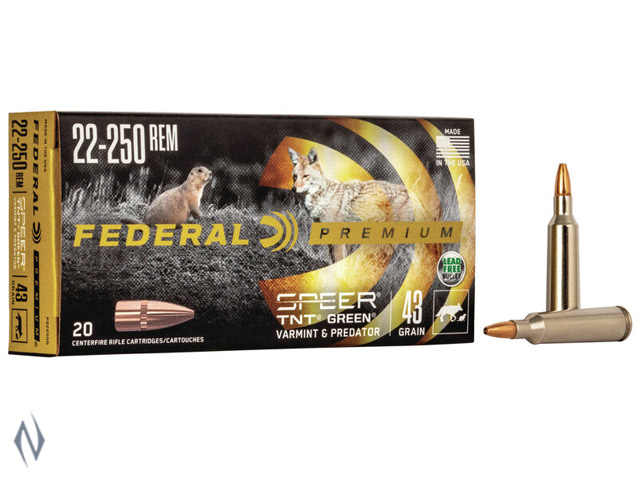 FEDERAL 22-250 REM 43GR TNT GREEN V-SHOK Image