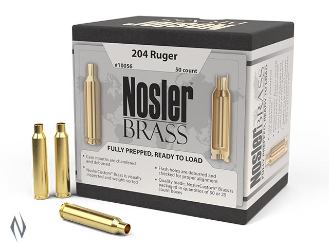 NOSLER CUSTOM BRASS 204 RUGER 50PK Image